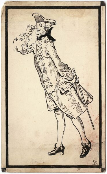 A curious eighteenth century gent wearing a silk frock coat and tricorn hat lifts a monocle to his eye to see better