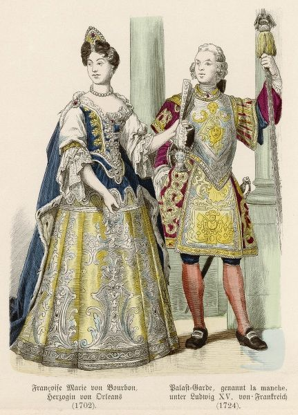Man: trunk hose, doublet, ruff & boots that reach over the knees. Woman: gown with a square neckline & tucker, voluminous sleeves & reverse cuffs & a plumed hat