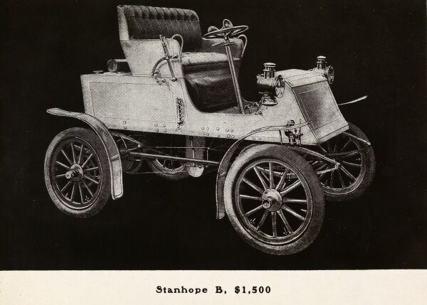 Automobile (Cars). Catalog advertisement for a 1903 Locomobile Steamer automobile; Stanhope B, $1,500 in type below image