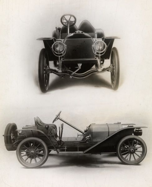 Automobile (Cars). Photomontage of two photographs of two lithographs (?) of a 1907 B.L.M. Raceabout automobile