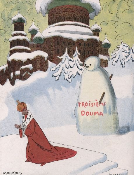 The Tsar is frightened by the Third Duma, represented as a large snowman