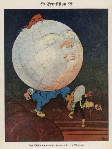 Socialism expels the Russian tyrant - a somewhat premature cartoon : the Tsar has still eight years to go before his abdication