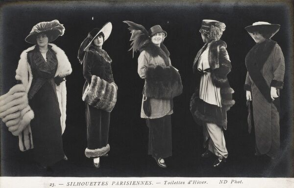 Women's fashions from the 1910s - Paris, France. Winter
