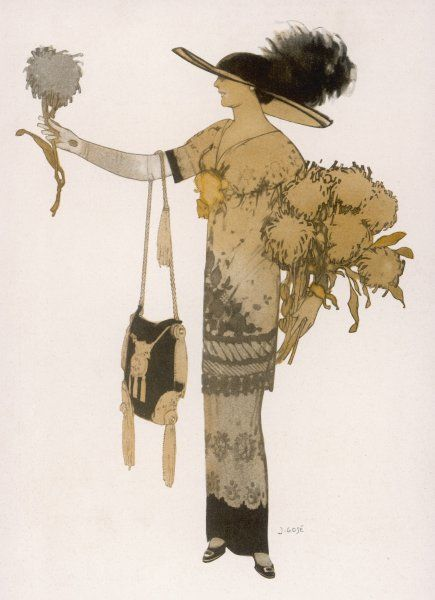 Silhouette of 1911: high waisted tunic dress with narrow (hobble) skirt & a 'V' necked corsage in an exotic floral fabric. She carries an American sac handbag