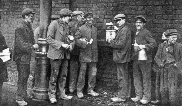 Striking miners during the 1912 Coal Strike in England