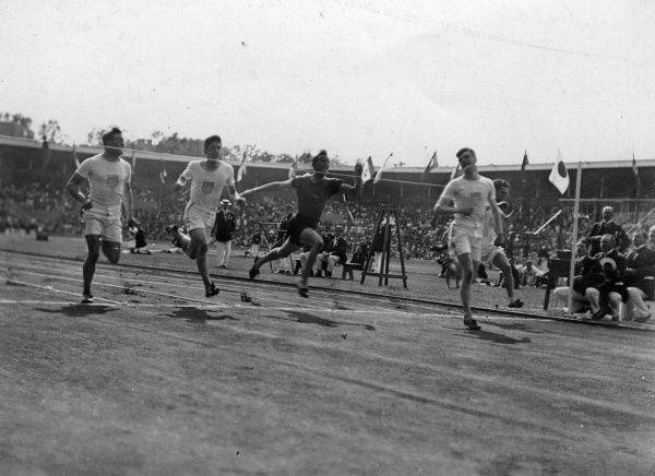 The final strides of the Men's 100m final at the Stockholm Olympics of 1912. Ralph Craig of the USA wins, with compatriots Alvah Meyer and Don Lippincott in second and third resepectively. The other runners were G.Patching of South Africa and F