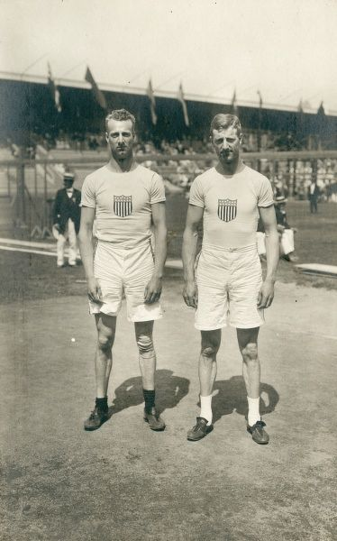 Olympic Games in Stockholm, Sweden, 1912.Ben and Platt Adams 3rd and 2nd in standing broad jump Date: 1912