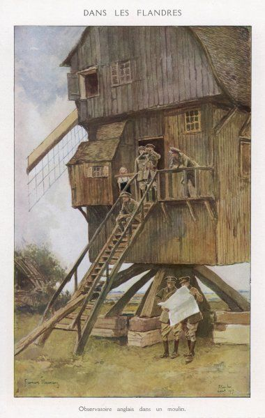 A British observation post in a windmill
