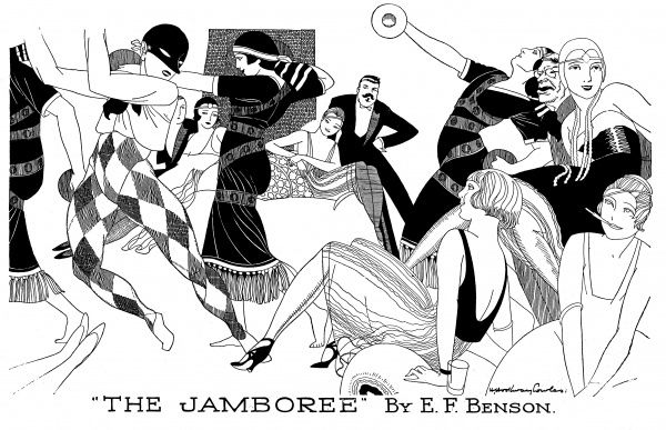 A group of revellers smoke, dance and wear fancy dress at a typical Bright Young Things party of the twenties