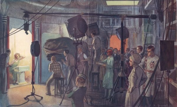 An impression by Alfred Bestall of the making of a close-up in a British film studio in the 1930s. A host of lighting and camera men are focused on a single actress