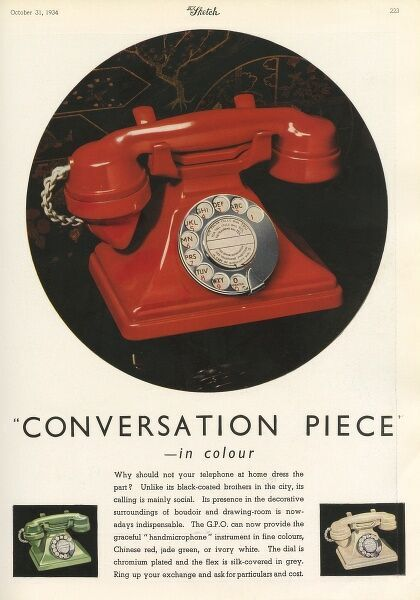 Advertisement for some rather eye-catching 'handmicrophone instrument' in fine colours such as Chinese red, jade green and ivory white. The dial is chromium plated and the flex is silk-covered in grey. These telephones, assure the advertisement