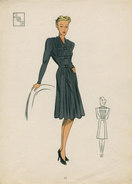 Woman wearing 1940s fashions, fashion illustration Date: 1940s