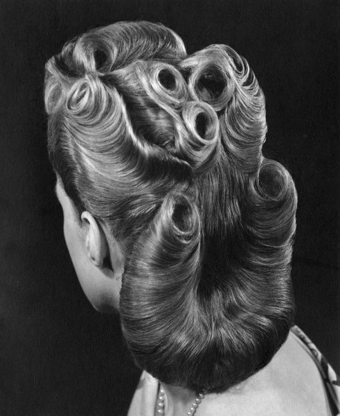 An elegant woman with an elaborate 1940s hairstyle, viewed from the back