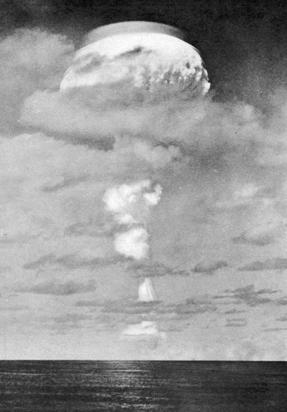 After Britain's first hydrogen bomb test over the pacific on May 15th 1957: the mushroom cloud photographed from a ship. The bomb was exploded in the air high above the sea off Christmas Island