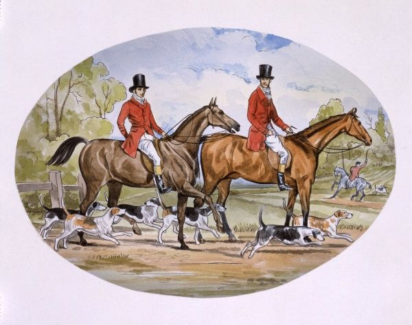 Riders and their hounds hunt a fox in this re-creation of a hunting scene from the first half of the 19th century. Painting by Malcolm Greensmith