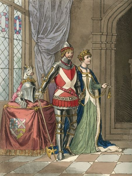 Ralph Neville, first earl of WESTMORLAND, with his second wife Joan Beaufort, daughter of John of Gaunt, duke of Lancaster. He is wearing his battle dress, she a fine gown. Date: 1364 - 1425