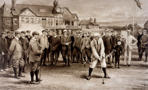 The first international golf match - England v Scotland at Hoylake : Robert Maxwell is about to drive for Scotland, while John Ball junior (England) is nearest left