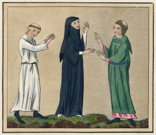 Two monks meet a nun