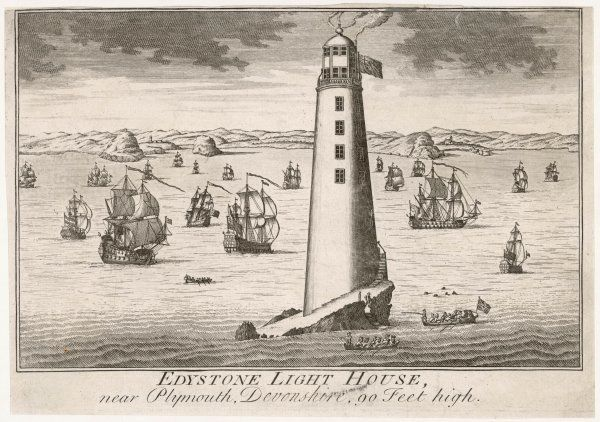 The second (wooden) Eddystone lighthouse, near Plymouth, Devon, is built by Rudyerd : it is nearly 30 metres high but will be destroyed by fire in 1755