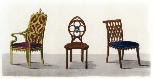Three chairs in the fashionable Gothic style favoured by the Romantics - suitable furniture for Jane Austen's 'Northanger Abbey' Date: 1826