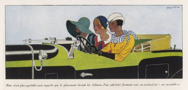 Three elegant ladies drive out in their elegant coupe Date: September 1931