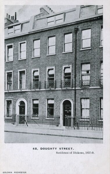The residence of the writer Charles Dickens (between 1837-9) at 48, Doughty Street, London. From a series of cards depicting places connected to the life of the writer Charles Dickens (4 of 6)