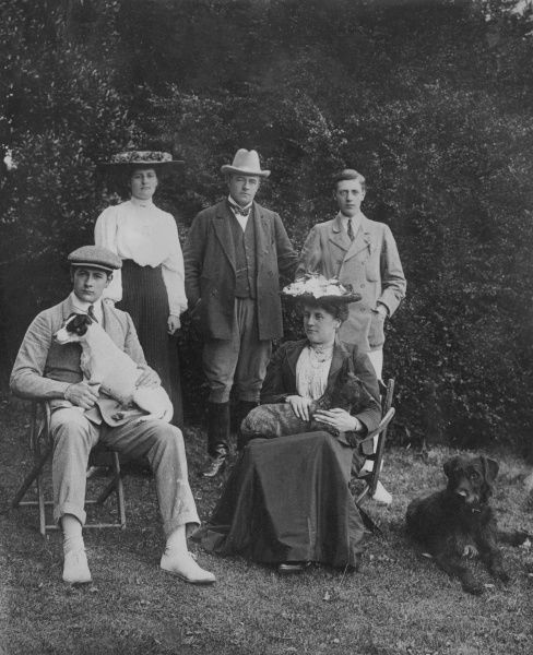 George Henry Hugh Cholmondeley, the 4th Marquess of Cholmondeley, Lord Great Chamberlain of England (1858-1923) pictured with his wife Winifred Ida Kingscote (whom he married in 1879), his sons George Horatio Charles, Earl of Rocksavage