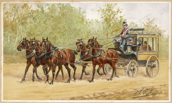 Five horses pull this family carriage, with coachman in livery