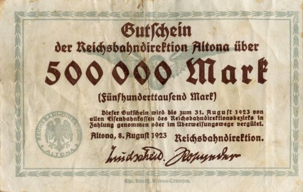 The hyperinflation the Weimar Republic 1921-1923. Charity banknote on 500 000 Mark edited in Altona 8/8 1923 during the hyperinflation the Weimar Republic. Front. Date: 1921-1923