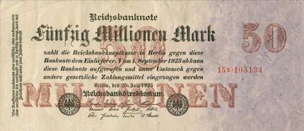 The hyperinflation the Weimar Republic. Front of a Banknote on 50 000 000 Mark edited in Berlin 25/7 1923. Date: 1923