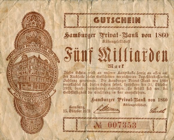 The hyperinflation the Weimar Republic 1921-1923. Front of a Banknote on 5 000 000 000 Mark edited at Hamburg 15/10 1923. Date: 1921-1923