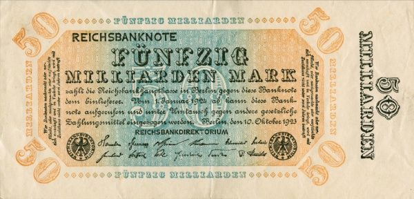 The hyperinflation the Weimar Republic 1921-1923. Front of Banknote on 50 000 000 000 Mark edited in Berlin 10/10 1923. Date: 1921-1923