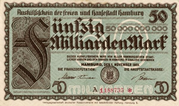 The hyperinflation in the Weimar Republic 1921-1923. Front of a Banknote on 50 000 000 000 Mark edited iat Hamburg 1/11 1923. Date: 1921-1923
