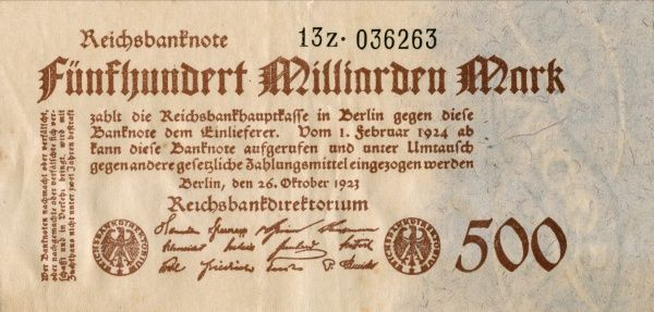 The hyperinflation in the Weimar Republic 1921-1923. Front of a Banknote on 500 000 000 000 Mark edited in Berlin 20/10 1923. Date: 1921-1923