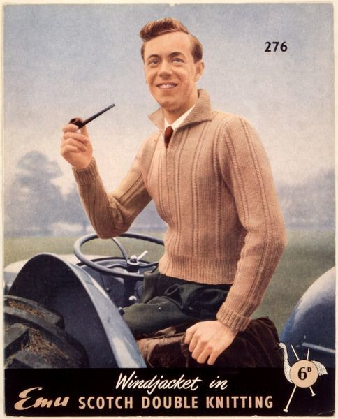 A lovely beige, knitted 'windjacket' just the thing for smoking a pipe in while out ploughing the fields! Worn with green trousers & red tie, it's smart, yet practical