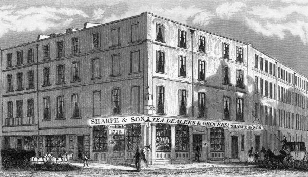 The premise of Sharpe and Son, tea dealers and grocers(estd. 1725), located at 56 Fenchurch Street, on the corner of Mark Lane, London. Date: 1838