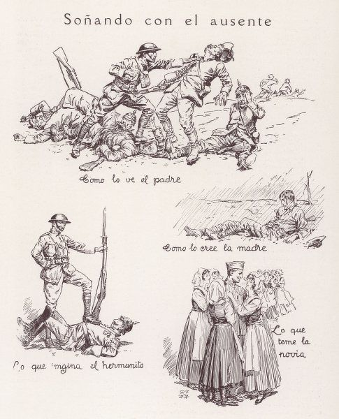 The American soldier in France as pictured by (1) his father (2) his worrying mother (3) his kid brother, and (4) his girl-friend