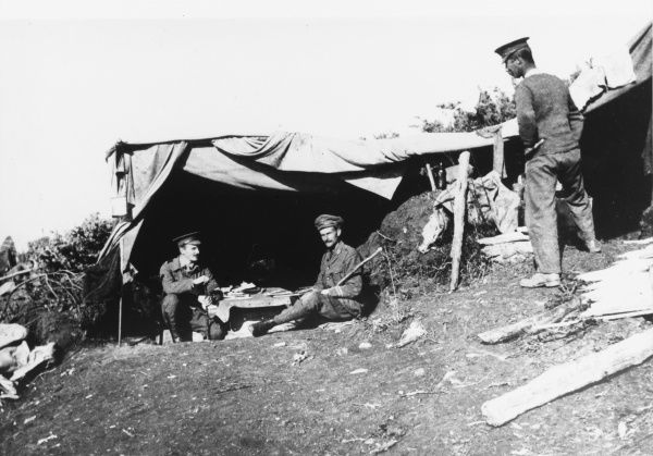A bivouac shelter at Kajali that served as the Battalion Headquarters for the 5th Connaught Rangers on the Bulgarian frontier, near Kosturino