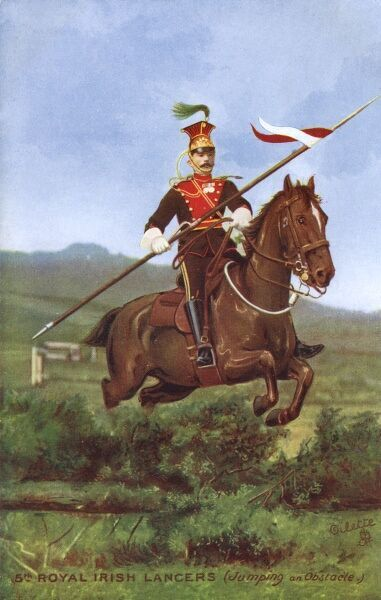 5th Royal Irish Lancer jumping an obstacle. Date: 1910s
