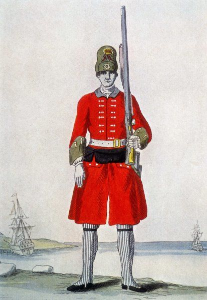 British soldier from the 6th Regiment of Marines