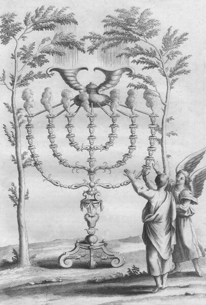 Ceremonial objects : The GOLDEN CANDLESTICK (Menorah) with seven branches, used in the Temple at Jerusalem, is shown to the prophet Zechariah by an angel