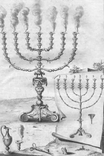 Ceremonial objects : GOLDEN CANDLESTICK (MENORAH) with seven branches, used in the Temple at Jerusalem
