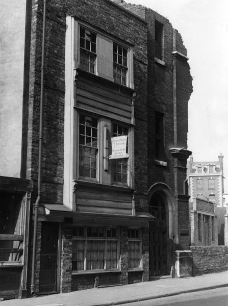 7 Jewry Street. Aldgate, London, which survived the World War Two Blitz, unlike its next door neigbour. Date: 1950s