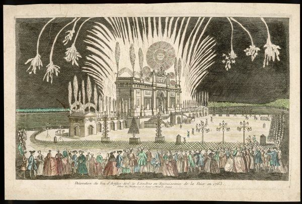 The Treaty of Paris, marking the end of the Seven Years' War, is celebrated in London's Green Park with a firework display Date: 10 February 1763