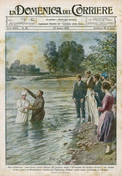 Missionaries of the Seventh Day Adventists baptise Italian converts in the river Addo, near Milano