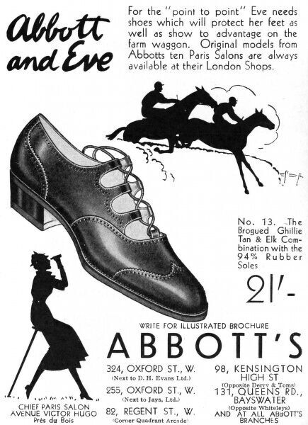 Advertisement for Abbott's shoes, ideal for protecting toes and looking stylish on ladies at point-to-point or other equestrian spectator sports. Featuring some rather lovely silhouettes. Date: 1935