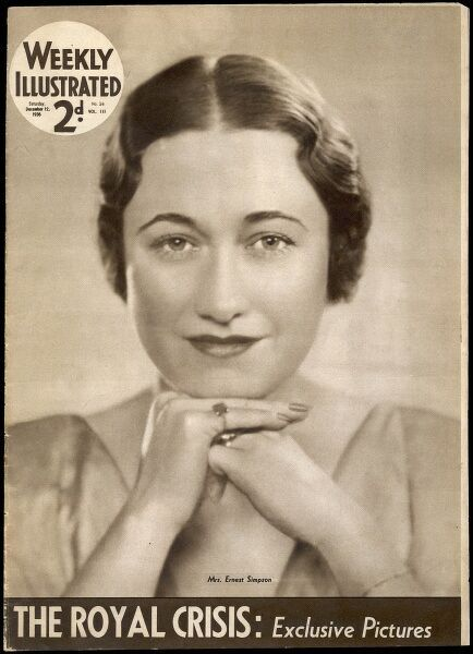 Front cover of the Weekly Illustrated newspaper from December 1936 showing a portrait of Mrs Ernest (Wallis) Simpson. In 1936, there was a constitutional crisis when the new king, Edward VIII declared his wish to marry Mrs Simpson, a twice divorced American
