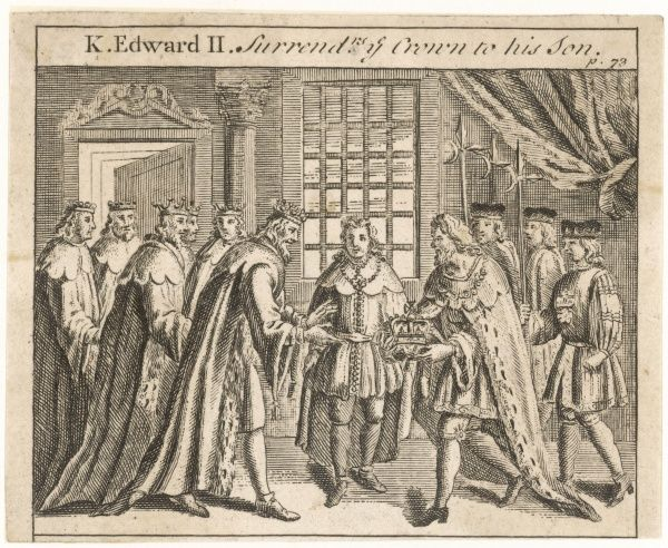 King Edward II is forced to abdicate and surrenders the crown to his son who will become Edward III