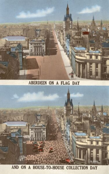 Aberdeen on a flag day... and on a house-to-house collection day! Satire on the more frugal nature of the Scottish psyche. Date: circa 1930s