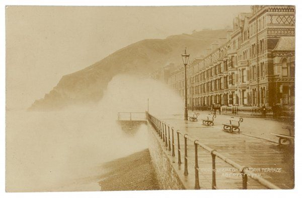 Aberystwyth: Victoria Terrace on a stormy day